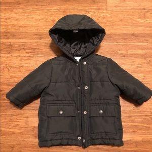 Janie and Jack hooded black puffer jacket 6-12 mo.